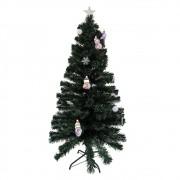 Arvore de Natal Fibra Ótica Natalino 1 Metro 20 Centimetros 125 Galhos Decoração Estrela Led Colorido