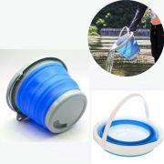 Balde Dobravel Silicone Retratil Agua 5 Litros Portatil Azul Limpeza