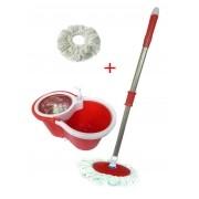 Balde Mop Esfregao Inox Centrifuga Casa Limpeza Suporte Com Rodinha Vermelho (mop-5/clb-03001)