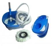 Balde Mop Esfregao Inox De Limpeza Spin Casa Centrifuga + 1 Refil Extra Microfibra Pratico Azul (bsl-mop-4)