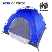 Barraca Monta Sozinha Automatica 4 Lugares Acampar Camping Azul com Cinza
