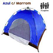 Barraca Monta Sozinha Automatica 4 Lugares Acampar Camping Azul com Marrom