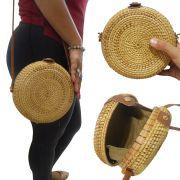 Bolsa de Ombro Palha Rattan Bali Redonda Tendencia Verao Moda