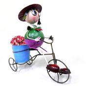 Boneca De Ferro Para Decoraçao De Jardim Casa Com Triciclo Com E Balde De Flor (BON-M-9)