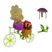 Boneca de Flor com Bicicleta Para Enfeite e Decoraçao Jardim e Flores Vaso Laranja (BON-P-11)