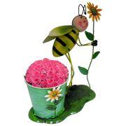 Boneco de Ferro Abelha com Balde de Flor Para Enfeite e Decoraçao Jardim e Flores (BON-M-7)