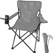Cadeira Dobravel Camping Braço Porta Copo Com Bolsa de Transporte Cinza
