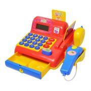 Caixa Registradora Infantil Vermelho Som Luz Pilha Calculado (DMT5112)