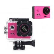 Camera 4K Ultra Hd 12Mp Esportiva Rosa Prova D agua Foto Video