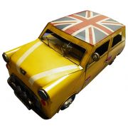 Carro Vintage Decorativo Mini Cooper Londres Retro Mr Bean Amarelo (cj-021)