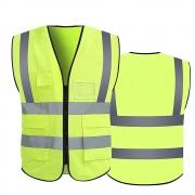 Colete faixa Sinalizador Refletivo Segurança Trabalho EPI Blusão Fluorescente Obra Transito Bolsos Ziper Proteção