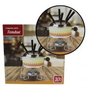 Conjunto Aparelho de Fondue Inox Com 10 pcs Queijo Chocolate Casita (CA12213)
