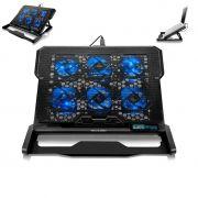 Cooler Notebook Laptop 6 Coolers LED Azul Suporte Gamer Base