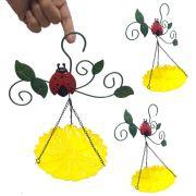 Enfeite Jardim Casa Metal Quintal Flor Joaninha Para Pendurar Conjunto Com 3 Amarelo (JARD-45)