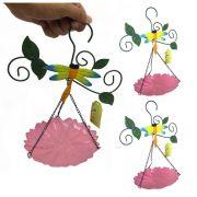 Enfeite Jardim Casa Quintal Flor Libelula Para Pendurar Conjunto Com 3 Rosa (JARD-45)
