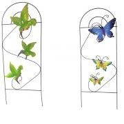 Enfeite Jardim de Ferro Borboleta Decorativo Grade Para Jardim Flor Kit com 2
