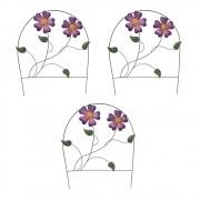 Enfeite Jardim Ferro Grade Casa Varanda Quintal Decora Planta Flor Roxa Kit 3 Unidades