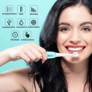Escova de Dente Eletrica USB Refil Recarregavel Saude Dental Azul