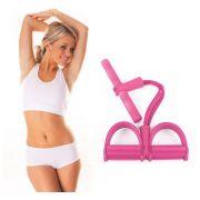 Extensor Ginastica Para Exercicio Fisico resistência  Academia Elastico 4 tubos Rosa
