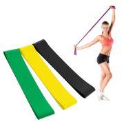 Faixa Elastica Latex Band Yoga Fit Exercicio Kit 3 Niveis de Intensidade