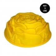 Forma de Silicone Flor Rosa Bolo Torta Doce Antiaderente Assadeira Sobremesa Cozinha Kit 3 Uni