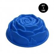 Forma de Silicone Flor Rosa Bolo Tortas Doce Sobremesa Antiaderente Assadeira Cozinha Kit 3 Uni
