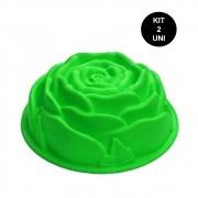 Forma de Silicone Rosa Flor Bolo Sobremesa Doces Torta Antiaderente Assadeira Cozinha Kit 2 Uni