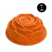 Forma de Silicone Rosa Flor Bolo Torta Doce Antiaderente Assadeira Sobremesa Cozinha Kit 3 Uni