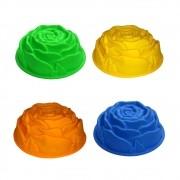 Formas de Silicone Flor Rosa Bolo Torta Doce Sobremesa Antiaderente Assadeira Cozinha Colorido Kit 4 Uni