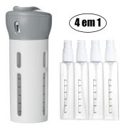 Garrafa Dispenser Portátil 4 Em 1 Shampoo Gel Cremes Cinza Viagens Loção