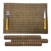 Jogo Americano Para Mesa De Jantar Kit Com 4 Unidades Palha Dourado Verde (JMA-D)
