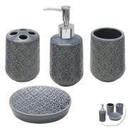 Jogo Para Banheiro 4 Peças Sabonete Liquido Porcelana Porta Escova Saboneteira