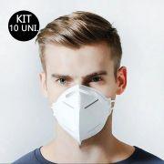 Kit 10 Uni Mascara Respiratoria KN95 PFF2 Respirador Profissional Proteção EPI N95