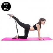 Kit 2 Elasticos Extensores Exercicio Academia Casa Yoga Ginastica Fitness Pilates Multifuncional Tonificaçao
