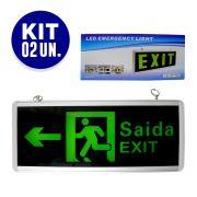 Placa de Saida LED Dupla Face Emergencia Kit 2 Un. Bateria Sinalizaçao Exit
