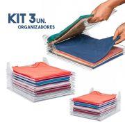 Kit 3 Organizador De Roupas Camisa Guardar Dobrado Casa 10 Divisorias