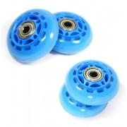 Kit 4 Rodinhas de Patins Abec 7 Roda de Silicone Pequena Azul (RA-A)