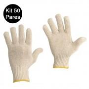 Kit 50 Pares Luvas de Malha Tricotada EPI Construçao Obras Proteçao Segurança Frio Reforçada
