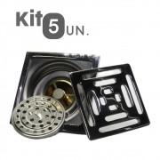 Kit 5 Ralos Inteligente 10X10 Anti Odor Insetos Aço Inox Banheiro Casa