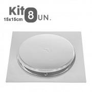 Kit 8 Ralos Click Inteligente 15x15 Aço Inox Pop Up Banheiro Lavabo Casa