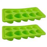 Kit Com 2 Formas De Gelo Em Silicone Para Cozinha Estilo Coração Verde
