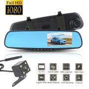 Espelho Retrovisor Estacionamento Carro Sensor Tela LCD Kit Camera Re Frontal