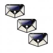 Luminaria Solar Kit 3 uni Sensor de Movimento Presença Parede LED 3 Funçoes