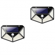 Luminaria Solar Sensor Presença Movimento Kit 2 uni LED 3 Funçoes Iluminaçao