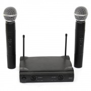 Microfone Duplo Profissional Sem Fio Unidirecional Receptor Wireless Audio Karaoke Musica Palestras Eventos
