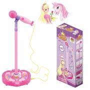 Microfone Musical Infantil Karaoke C/ Pedestal Luz e Som Amplificador Rosa (DMT3836)