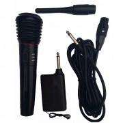 Microfone Sem Fio Alcance 30m Profissional Completo 3m Cabo Transmissor (93112)