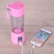 Mini Liquidificador Portatil Bateria Recarregavel Eletrico Rosa Shake