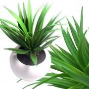 Suculenta Planta Artificial Com Vaso Branco Decoracao Festa Jardim Verde