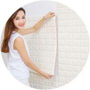 Papel de Parede 3D Adesivo Placa 70 x 76 cm Painel Tijolinho Branco Decoracao Casa